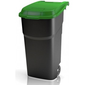 ROTHO DUSTBIN WITH WHEELS BLACK / GREEN LT. 100