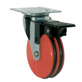 WHEEL FOR CHERRY FURNITURE WITH PLATE MM. 50 WITH BRAKE