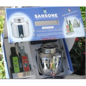SAMSON GIFT BOX IN STAINLESS STEEL. LT. 3 WITH OIL AND VINEGAR TABLE STAND
