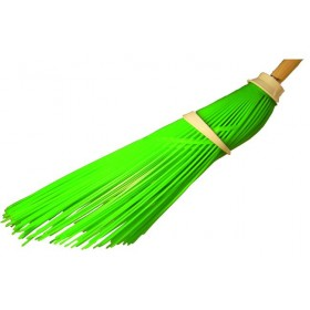 PLASTIC BROOM WITHOUT HANDLE GREEN INCLINED WIRES ATTACK DIAM. 25 MM.