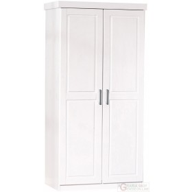 WARDROBE 2 DOORS WITH WHITE SOLID PINE SHELVES cm. 95x55x190H