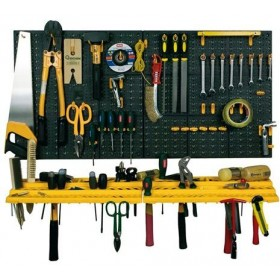 SET 2 TOOL PANELS WITH 2 SHELVES AND 50 PLASTIC HOOKS CM. 97.8x77.8x74.3