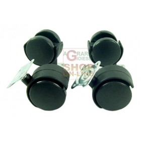 SET OF 4 PLASTIC WHEELS DIAM. 40 MM.