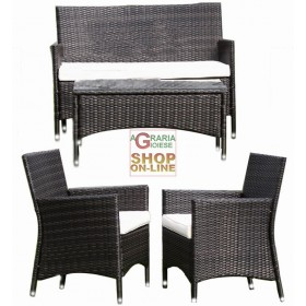 BLINKY RIVIERA GARDEN FURNITURE SET SIMIL RATTAN DARK BROWN