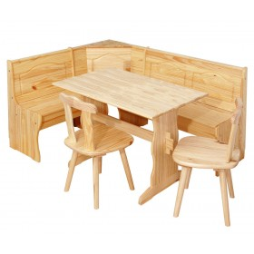 BENCH SET WITH CONTAINER IN SOLID PINE IN NATURAL FINISH