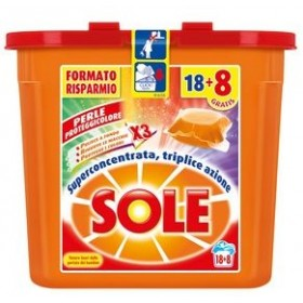 SOLE ECODOSI LAUNDRY DETERGENT WASHING MACHINE PODS PERLE PROTECT COLOR 18 and 8 CAPS