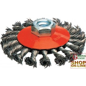 STEEL BRUSH CIRCULAR CONICAL MM.95 TWISTED BOLTS M14
