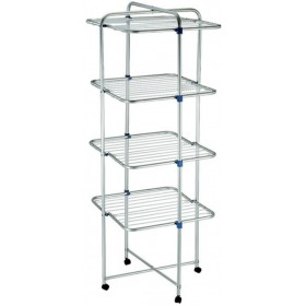 TOWER CLOTHING RACK WITH 4 ALUMINUM SHELVES AND WHEELS 25 meters of laundry