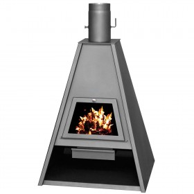STEEL WOOD STOVE MOD. DELTA ANTHRACITE kw. 21 with stone reflect