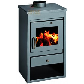 STEEL WOOD STOVE MOD. DELUXE-L ANTHRACITE COLOR cm. 46x40x85h.