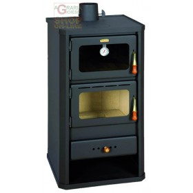 STEEL WOOD STOVE MOD. FIRENZE WITH ANTHRACITE COLOR OVEN CM. 49X46X93