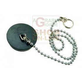 BLACK RUBBER CAP WITH CHAIN BRASS BEADS 90 DIAM. MM. 27