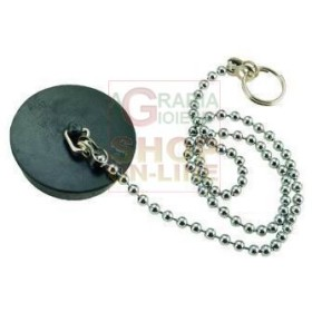 BLACK RUBBER CAP WITH CHAIN BRASS BEADS 90 DIAM. MM. 52