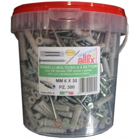 DOWELS WITH SCREWS PF4 MM. 6X30 ALLFIX MULTIPURPOSE WITH TIP BOX 300 PIECES