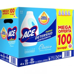 ACE LAUNDRY DETERGENT WASHING MACHINE SANITIZING LIQUID CLASSIC 4 PIECES x 25 WASHES