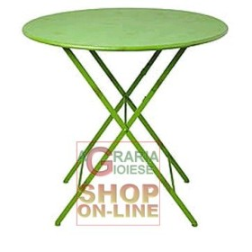 FOLDING ROUND TABLE GREEN COLOR DIAM. 70 HIGH 71 CM.