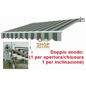 SUN AWNING WITH RETRACTABLE ARMS WHITE GREEN CM.295X200