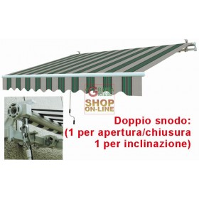 AWNING WITH RETRACTABLE ARMS WHITE GREEN CM.395X250