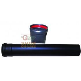 ENAMEL TUBES FOR PELLETS STOVE MM.1 ENAMELED MATT BLACK CM. 8 X 100