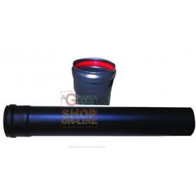 SMALBO TUBE FOR PELLET STOVE MM. 1 ENAMELED MATT BLACK CM. 8 X 50