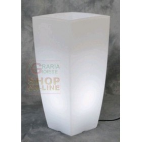 VASO HOME LIGHT QUADRO IN RESINA COLORATA CM. 40X40X90H. BIANCO