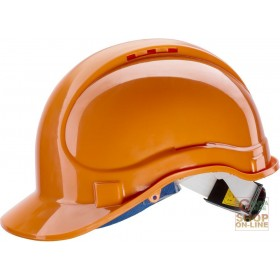PROTECTIVE HELMET IN ABS WITH THROAT AND SWEAT BAND RATCHET EN 397 COLOR ORANGE