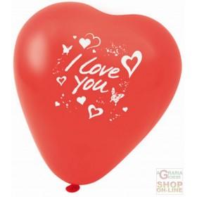 FACKELMANN 5 RED HEART SHAPED BALLOONS WITH WRITTEN I LOVE YOU