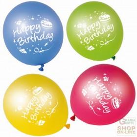 FACKELMANN 8 BALLOONS HAPPY BIRTHDAY ASSORTED COLORS ART. 50133