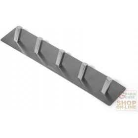 FACKELMANN ADHESIVE HOOK WITH 5 PLACES IN SATIN STAINLESS STEEL