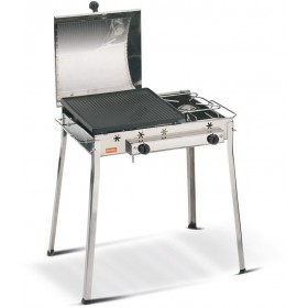 GAS BARBECUE WITH CAST IRON PLATE FERRABOLI COMBINED STAINLESS