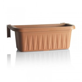 BALCONY PLANTER BAMA RONDINE TERRACOTTA WITH ADJUSTABLE HOOKS CM. 50x20x18.5h