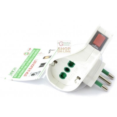 FME ART.87300 ADAPTER WITH 2 SCHUKO SOCKETS WITH SAFETY SWITCH