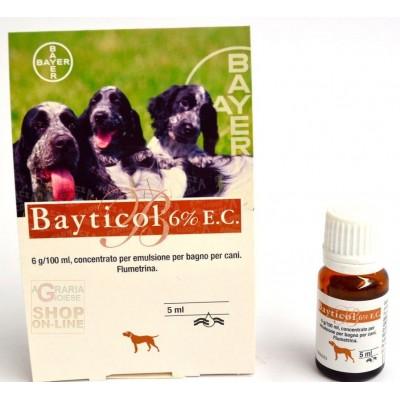BAYER BAYTICOL 6% ANTIPARASSITARIO PER CANI CONTRO ZECCHE ML. 5