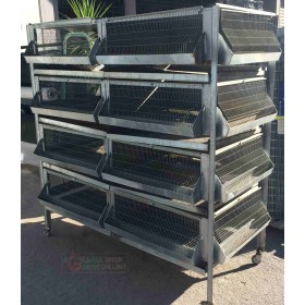 BATTERY CAGE FOR CHICKS CHICKENS HENS PHARAOHS FGGIANI QUAIL USED GALVANIZED WITH WHEELS