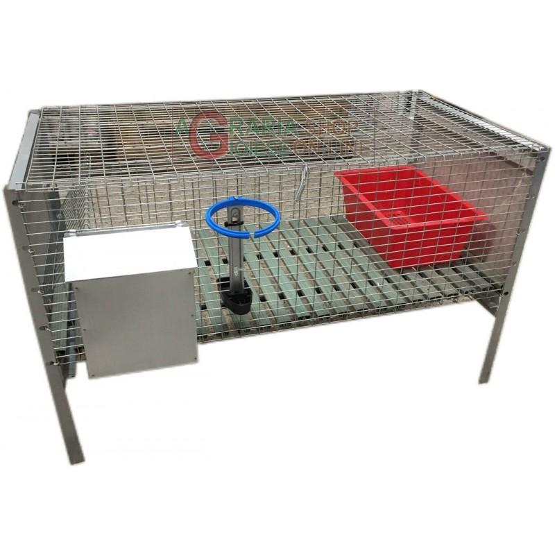 Gabbia per conigli ingrasso con rete antitopo cm.100