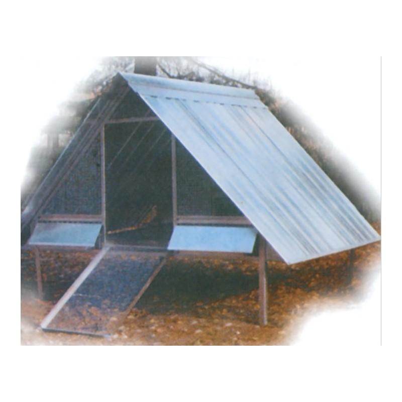 Gabbia pollaio in rete metallica e tetto cinque posti for Pollaio fai da te