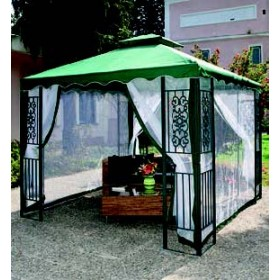 GAZEBO IN WIRE MT.3X3 DECORATED GREEN METAL STRUCTURE