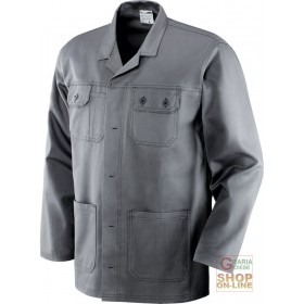 JACKET 100% SANFORIZED COTTON GR 250 MULTI-POCKETS SEAMS IN CONTRAST COLOR GRAY TG S XXL