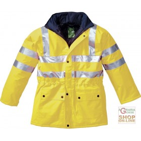 NON BREATHABLE SYNTHETIC FABRIC JACKET WITH PADDING AND REFLECTIVE BANDS EN 471