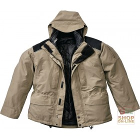 TRIPLE USE JACKET IN NYLON POLYESTER FABRIC COLOR BEIGE BLACK HUSKY INTERIOR BLACK
