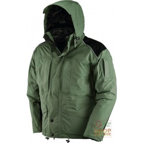 TRIPLE USE JACKET IN NYLON POLYESTER FABRIC COLOR GREEN BLACK HUSKY INTERIOR BLACK