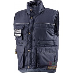 PADDED MULTI-POCKET POLYESTER COTTON VEST WITH BLUE BADGE