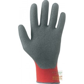 GLOVE IN SYNTHETIC FABRIC PALM COVERED IN RUBBER COLOR RED GRAY
