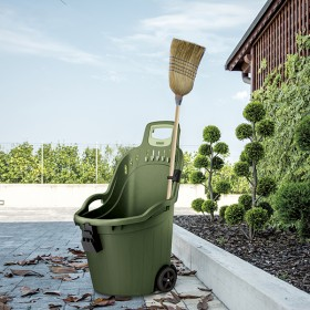Helpy Cart Multi-purpose wheelbarrow complete with broom holder Green Brown cm. 59.5x53x88.5h.