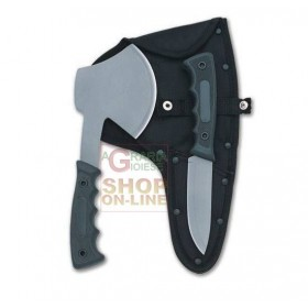 HERBERTZ SET HUNTING KNIVES AX AND KNIFE RUBBER HANDLE WITH SHEATH MOD. 117400