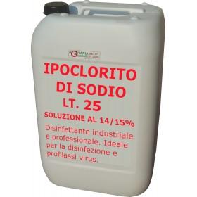 IPOCLORITO DI SODIO SOLUZIONE 14/15% USO INDUSTRIALE E PROFESSIONALE TANICA LT. 25
