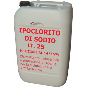 SODIUM HYPOCHLORITE SOLUTION 14/15% INDUSTRIAL AND PROFESSIONAL USE TANK LT. 25