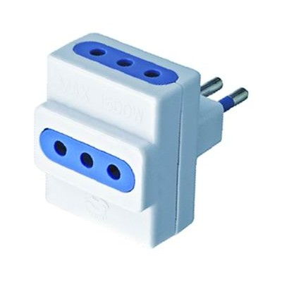 DOUBLE SOCKET TRIPLE 10A ADAPTER WITH EARTH