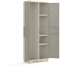 Keter Wood Grain Utility Cabinet With broom holder Gray with wooden design doors cm. 68x39x182h.mod. GT / WDG