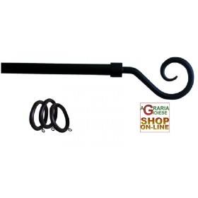 STICK KIT FOR CURTAINS IN ANTHRACITE IRON CURLY POINT CM.120-210